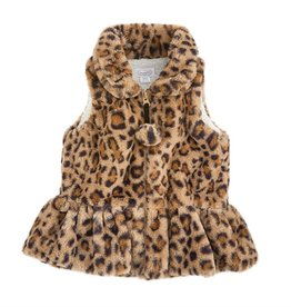 Mud Pie Brown Faux Leopard Vest