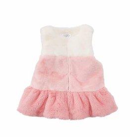 Mud Pie White and Pink Fur Vest