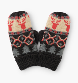 Hatley Fair Isle Stags Mittens Grey