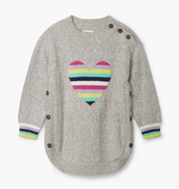 Hatley Rainbow Heart Chunky Sweater Grey