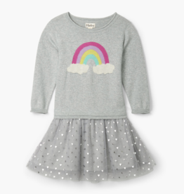 Hatley Metallic Hearts Drop Waist Tulle Dress Grey
