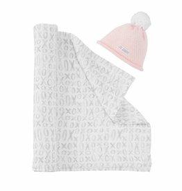 Mud Pie Pink Grandma Swaddle & Hat Set
