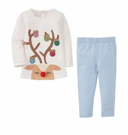 Mud Pie Reindeer Tunic & Ice Blue Legging