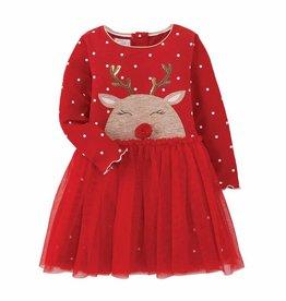 Mud Pie Reindeer Mesh Dress