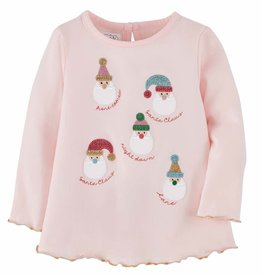 Mud Pie Pink Girl Xmas Santas Tee