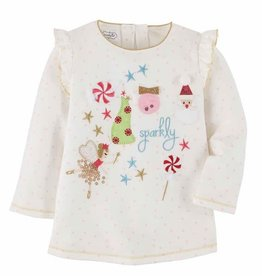Mud Pie White Girl Xmas Sparkly Tee