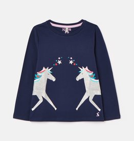 Joules Bessie Screenprint Top Navy Unicorn