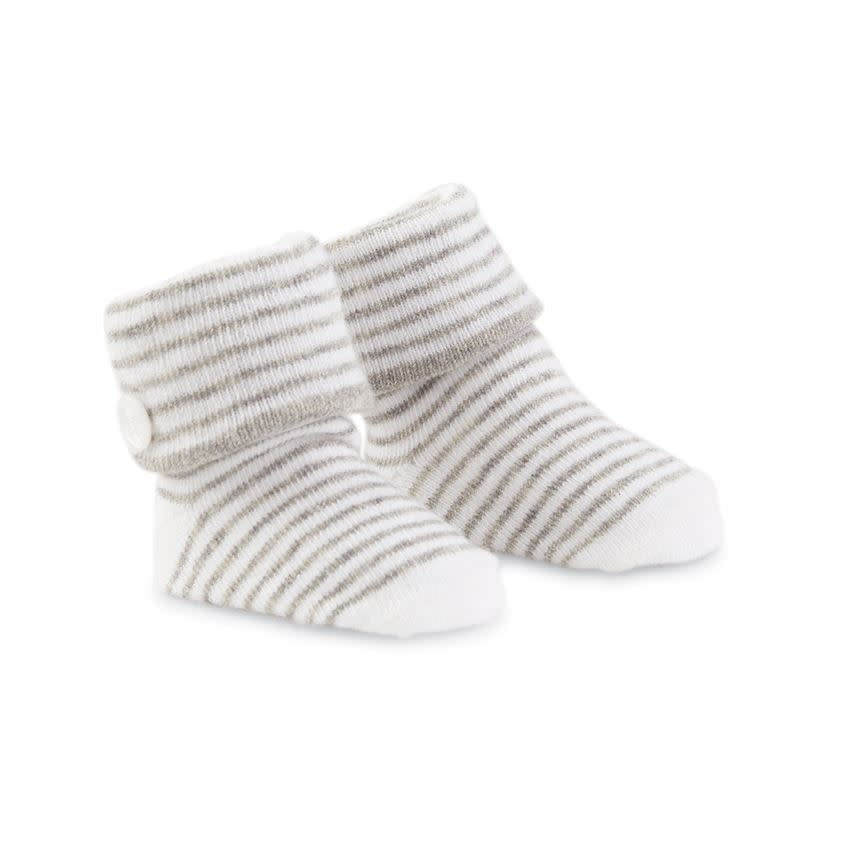 Mud Pie Gray Striped Button Socks