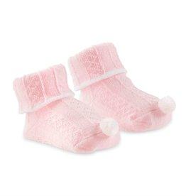 Mud Pie Pink Pom Cable Knit Socks