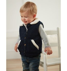 Mud Pie Navy Fleece Vest, Large (4T/5T)