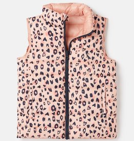 Joules Flip It Reversible Vest Pink Leopard