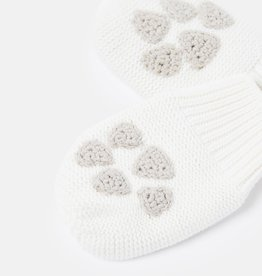 Joules Paws Knitted Mittens Cream