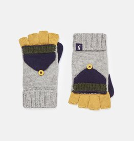 Joules Handy Knit Converter Mittens Grey Marl