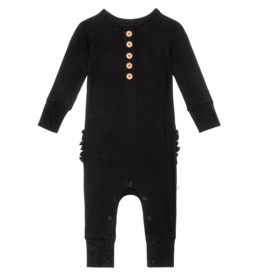 Posh Peanut Solid Ribbed Black LS Ruffled Henley Romper