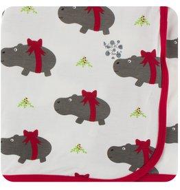 Kickee Pants Print Swaddling Blanket Nat Christmas Hippo