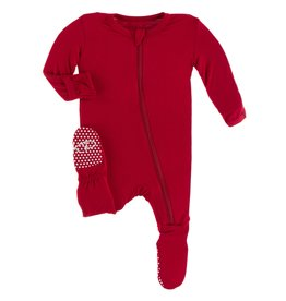 Kickee Pants Solid Footie w/ Zipper Crimson