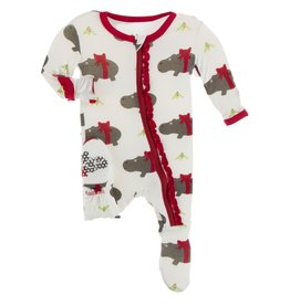Kickee Pants Muff Ruff Footie w/ Zipper Natural Christmas Hippo
