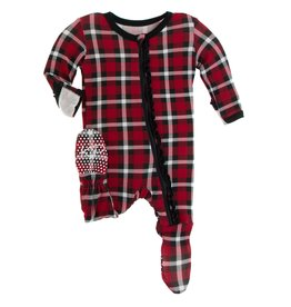 Kickee Pants Muff Ruff Footie w/ Zipper Crimson 2020 Holiday Plaid