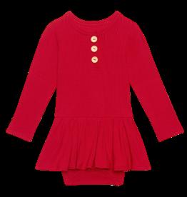 Posh Peanut Solid Ribbed Crimson LS Henley Twirl Skirt Bodysuit