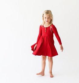 Posh Peanut Solid Ribbed Crimson LS Henley Twirl Dress