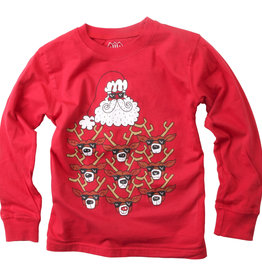 Wes And Willy Santa & Reindeer LS Tee Cherry