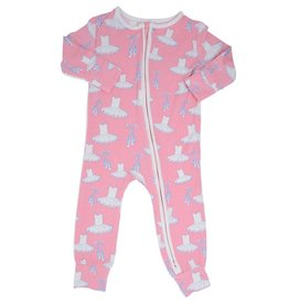 Sweet Bamboo Piped Zipper Romper Ballet