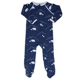 Sweet Bamboo Piped Zipper Footie Polar Bears