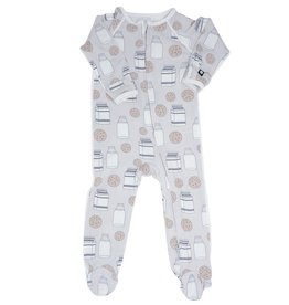 Sweet Bamboo Piped Zipper Footie Milk & Cookies
