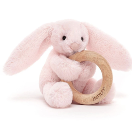 Jellycat Bashful Blush Bunny Wooden Ring Rattle
