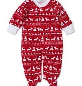 Kissy Kissy Red Christmas Deer Print Footie