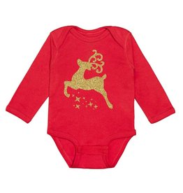 Sweet Wink Christmas Reindeer LS Bodysuit Red