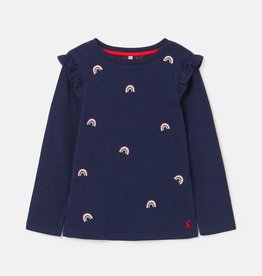 Joules Joya Front and Back Top Navy Icon Rainbows