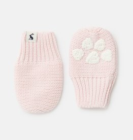 Joules Pawprint Knitted Mittens Lilac Whisp