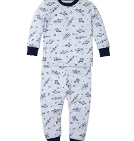 Kissy Kissy Light Blue PJ Set Spaceships Print