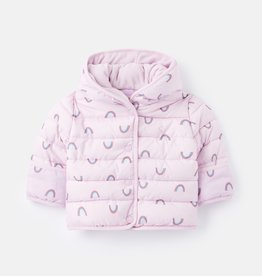 Joules Jessie Printed Padded Coat Lilac Rainbows