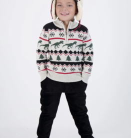 Andy & Evan Half Zip Sweater Dino Holiday