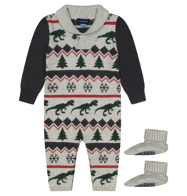 Andy & Evan Shawl Collar Dino Holiday Romper w/Booties