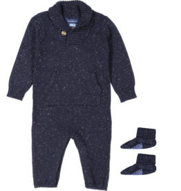 Andy & Evan Navy Slub Shawl Collar Onesie w/Booties