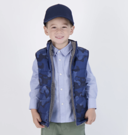 Andy & Evan Reversible Fleece Puffer Vest Blue Camo