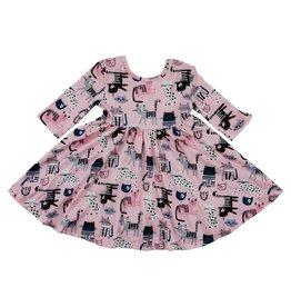 Mila & Rose LS Kitty Crew Twirl Dress
