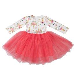 Mila & Rose LS Unicorn Dream Coral Tutu Dress