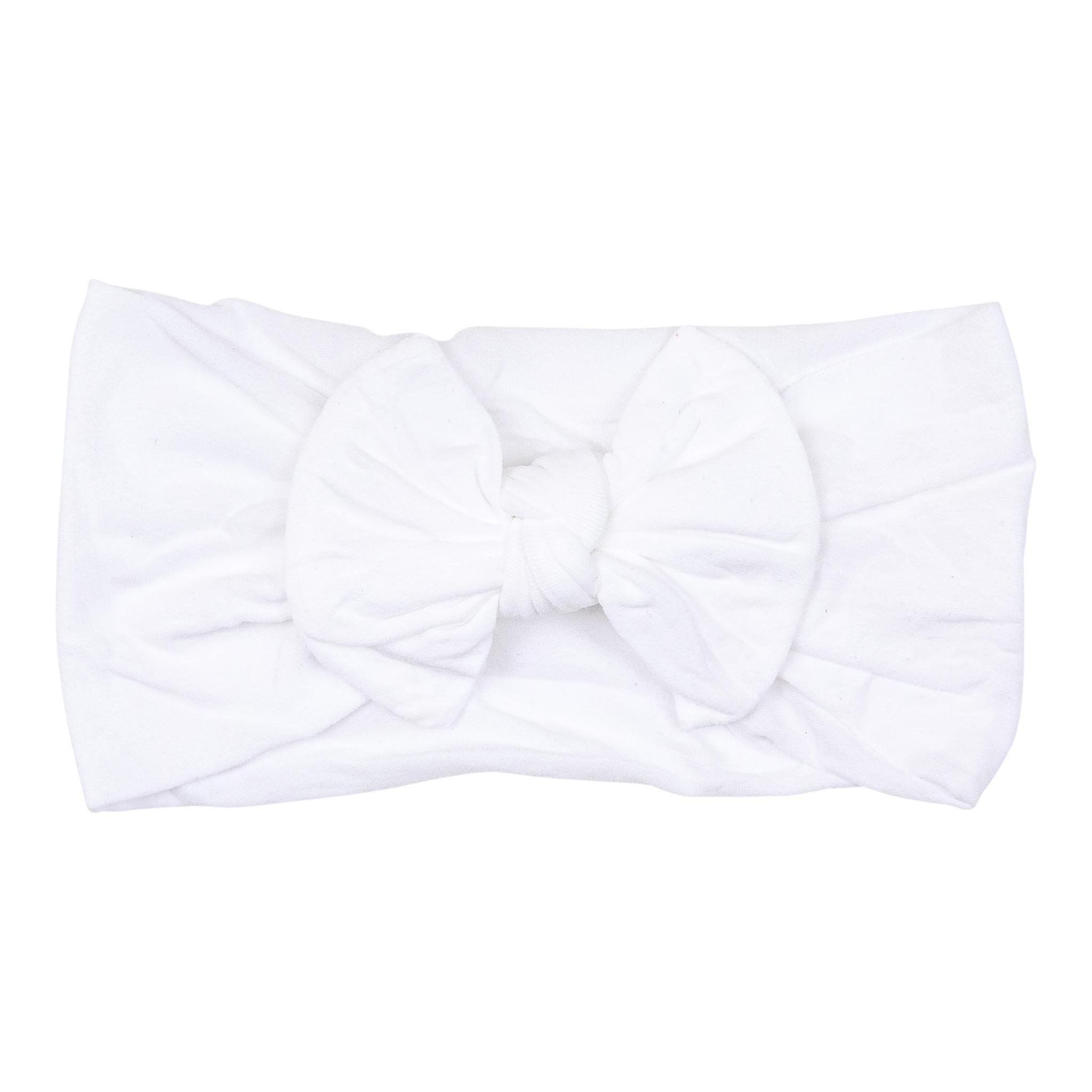 Mila & Rose Beluga White Nylon Bow Headwrap