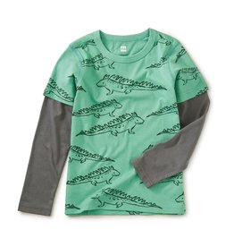 Tea Collection Printed Layered Sleeve Tee Iguana