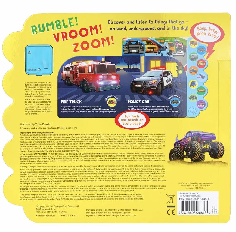 Cottage Door Press Rumble Vroom Zoom (Sound Book)