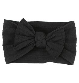 Mila & Rose Onyx Black Cable Knit Nylon Headwrap