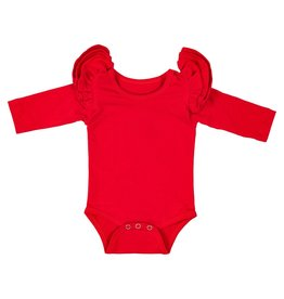 Mila & Rose Red LS Flutter Bodysuit