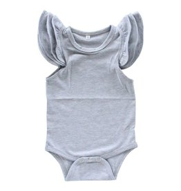 Mila & Rose Heather Gray SS Flutter Bodysuit