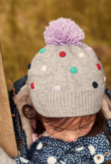 Joules Bella Pom Pom Knit Hat Gray
