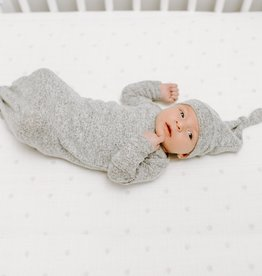 Aden & Anais Heather Gray Snuggle Knit Gown & Hat Set