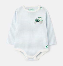 Joules Snazzy Luxe Rib Embr. Bodysuit Blue Tractor